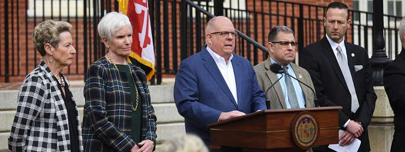 Maryland Unites - Responding to the COVID-19 pandemic, image of Governor Larry Hogan and staff, addressing the citizens of Maryland